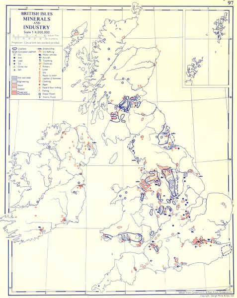 Associate Product UK. British Isles; Minerals and Industry 1962 old vintage map plan chart