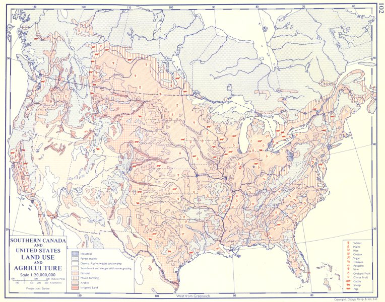 Associate Product USA. Southern Canada and United States; Land use and Agriculture 1962 old map