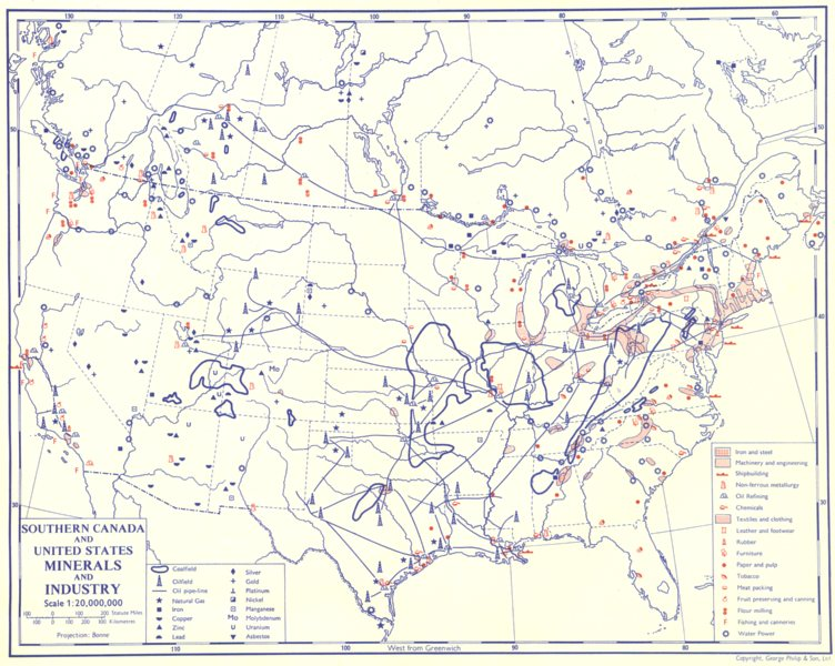 Associate Product USA. Southern Canada and United States; Minerals and Industry 1962 old map