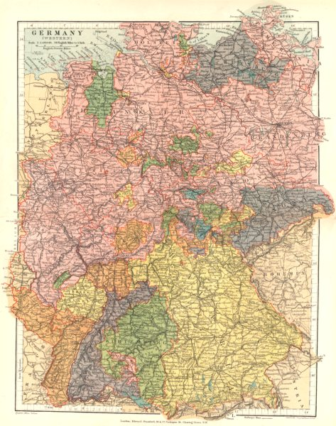 Associate Product GERMANY Western. Bavaria Saxony Hanover Mecklenburg Holstein. Stanford 1892 map