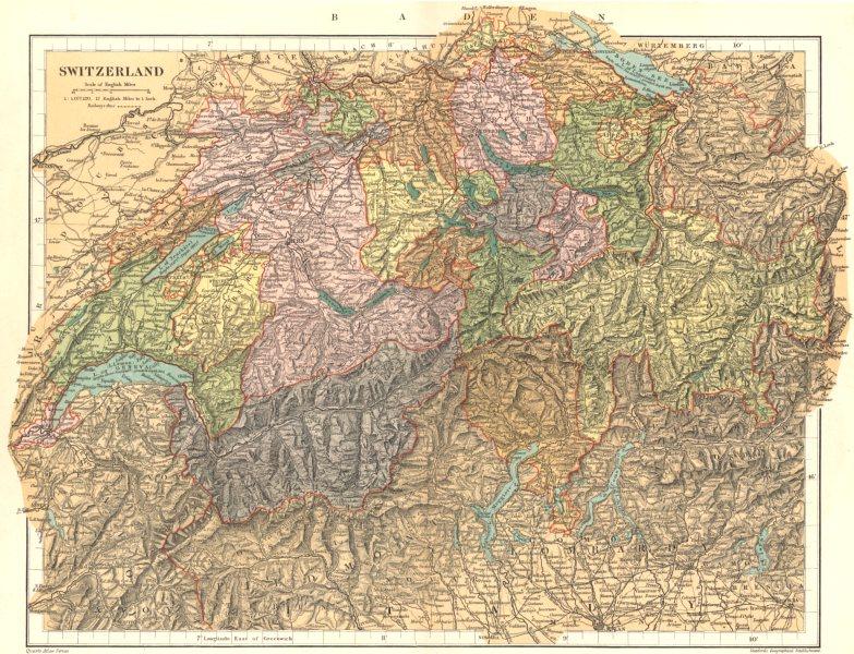 Associate Product SWITZERLAND. Switzerland. Stanford 1892 old antique vintage map plan chart