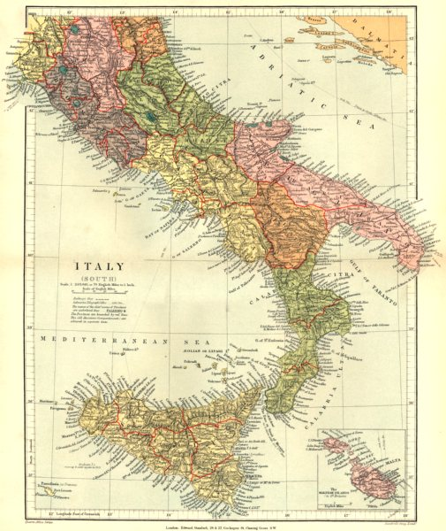 Associate Product ITALY. Italy (South) ; Inset map of The Maltese Islands. Stanford 1892 old