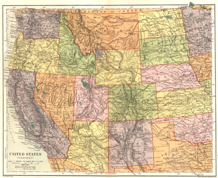 Associate Product USA. United States (Western) . Stanford 1892 old antique map plan chart