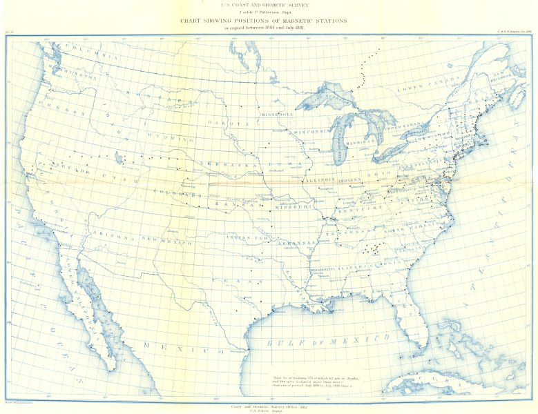 Associate Product USA. USCGS magnetic stations occupied between 1844 and July 1881 1881 old map
