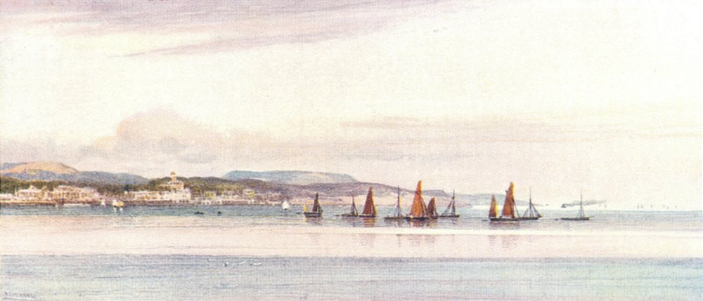 Associate Product DEVON. Torbay. Torquay from the Bay 1908 old antique vintage print picture