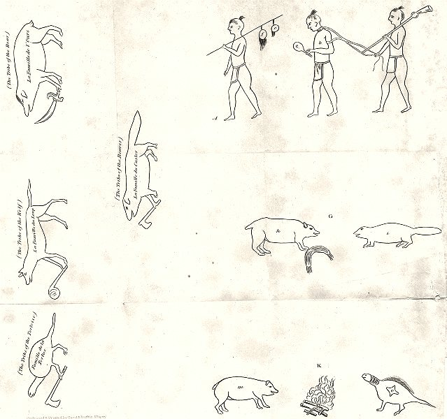 Associate Product NY.Iroquois Indian Tribes.Scalps;Prisoner;Chichicois(gourd);Bear Beaver 1849