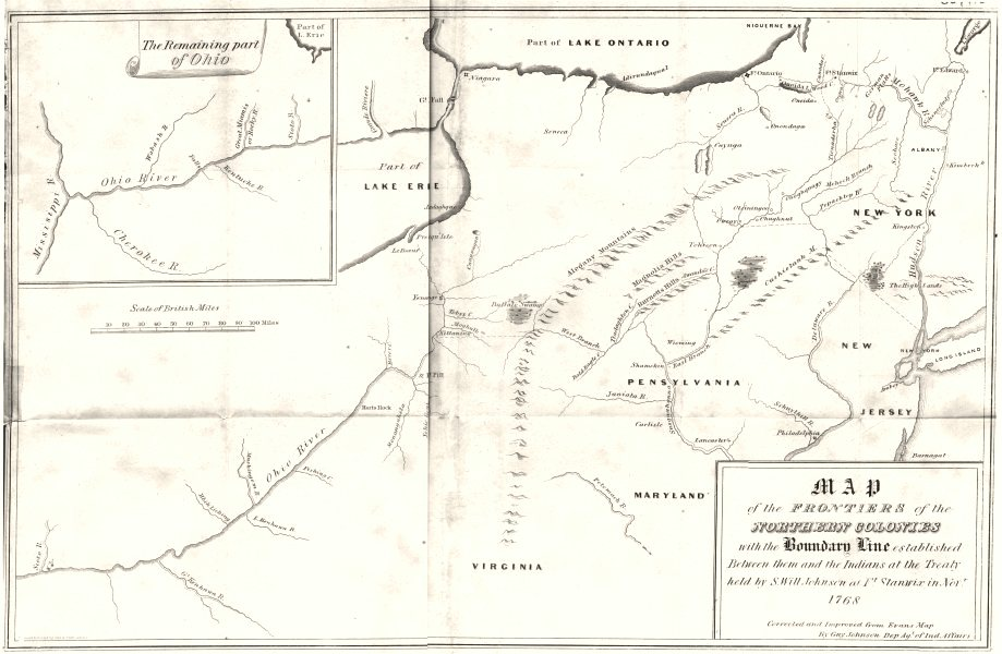 Associate Product TREATY OF FORT STANWIX 1768. Indian frontiers. OH NY NJ VA MD PA 1849 old map