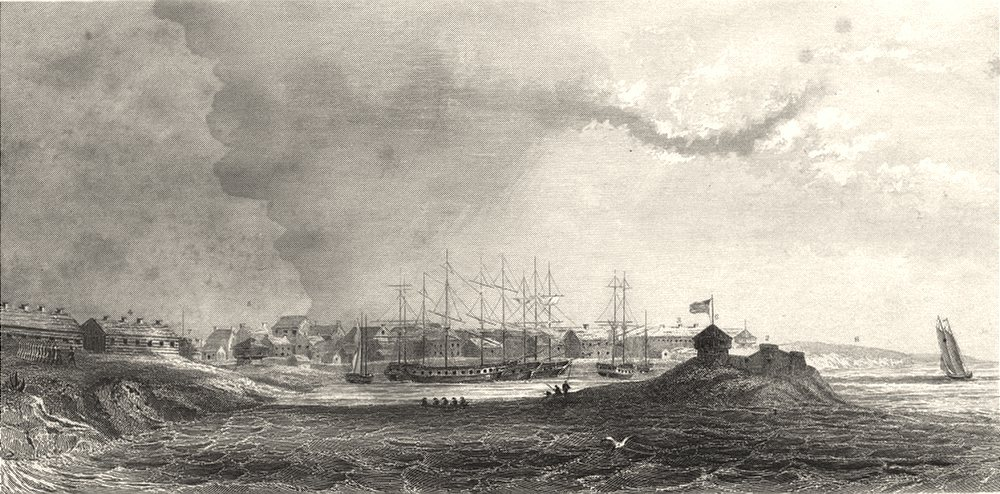 Associate Product NEW YORK STATE. Sacket's (Sackett's) Harbour in 1815. 1849 old antique print