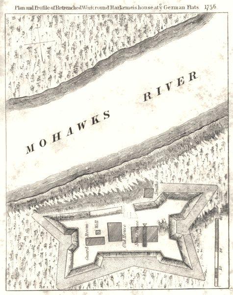 Associate Product NEW YORK STATE. Harkemeis Herkimer house German Flatts 1756. 1849 old map