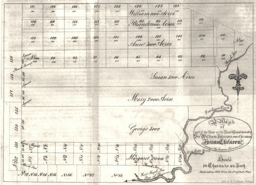 Associate Product NY. Land grant William Johnson Indian children. Last chance creek.1797. 1849 map