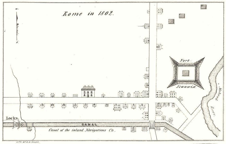 Associate Product NEW YORK STATE. Rome in 1802 1850 old antique vintage map plan chart