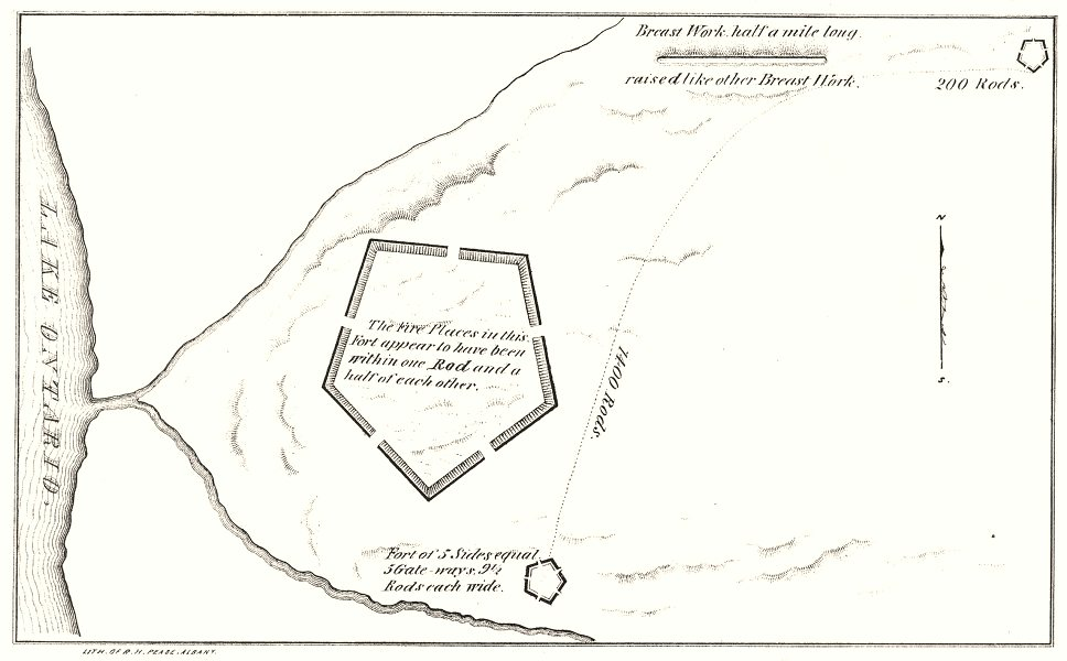 Associate Product NEW YORK STATE. Pentagonal fort on Lake Ontario 1850 old antique map chart
