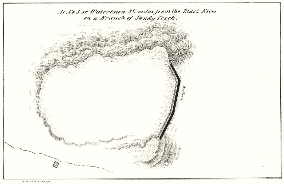 Associate Product NEW YORK STATE. Fort at Watertown, near Back River.Branch Sandy Creek 1850 map