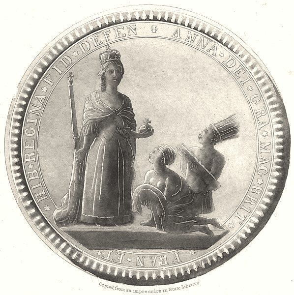 Associate Product NEW YORK STATE. Great Seal of the Province of New York 1710 to 1718-front 1851