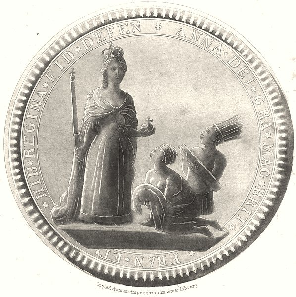 Associate Product NEW YORK STATE. Great Seal of the Province of New York 1710 to 1718 (2) 1851