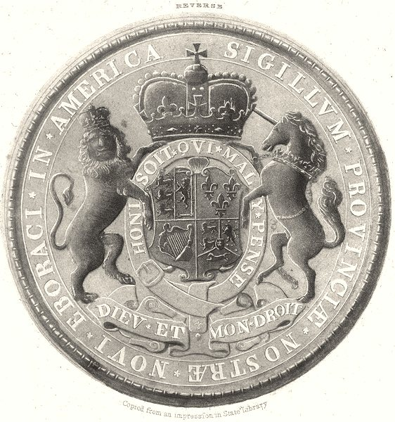 Associate Product NEW YORK STATE. Great Seal of the Province of New York 1718; reverse 1851