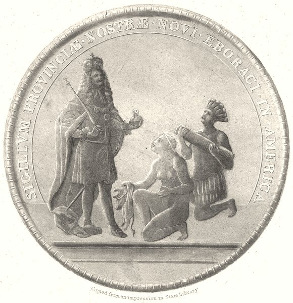 NEW YORK STATE. Great Seal of the Province of New York 1851 old antique print