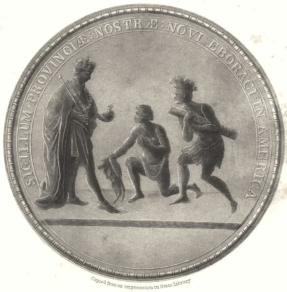 Associate Product NEW YORK. Great Seal of the Province of New York 1767 to the Revolution 1851