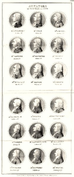 NEW YORK STATE.Senators 1798.Fonda Gold Jones Phelps Sanger Ogden 1851 print
