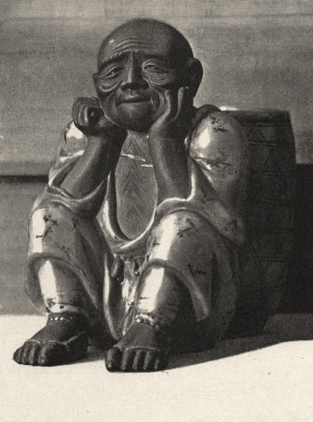 Associate Product JAPAN. Bouquet- holder in Kyoto Stoneware. A Stooping figure 1890 print