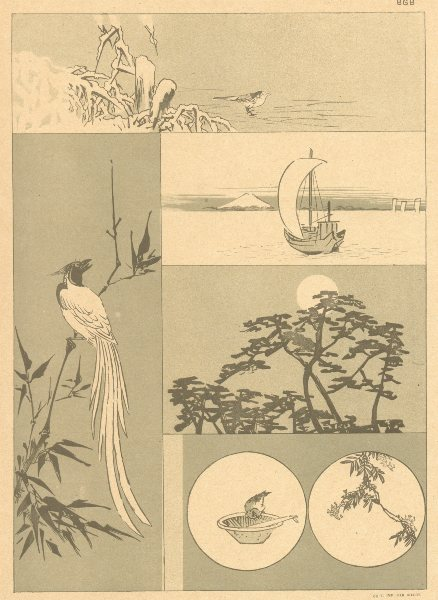 JAPAN. Small Sketches. By Keisai Yeisen 1890 old antique vintage print picture