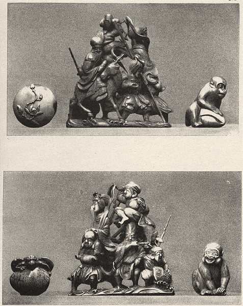 Associate Product JAPAN. Five Ivories 1890 old antique vintage print picture