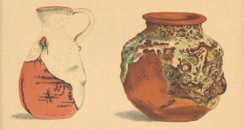 Associate Product JAPAN. Two Pieces of Pottery 1890 old antique vintage print picture