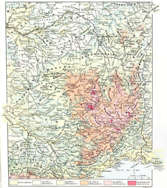 Associate Product FRANCE. Massif Central Hypsométrique 1900 old antique vintage map plan chart