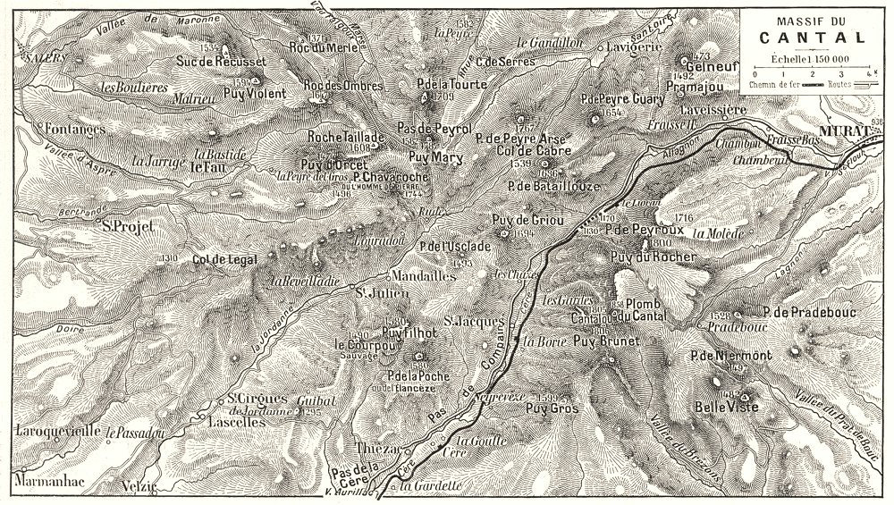 Associate Product CANTAL. Massif Du Cantal 1900 old antique vintage map plan chart