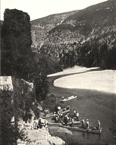 Associate Product TARN. Descente du Tarn. Embarquement a la Caze 1900 old antique print picture