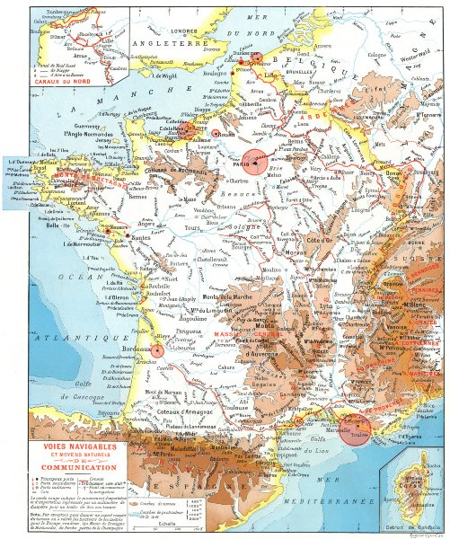 Associate Product FRANCE. Voies Navigables Communication; maps Canaux Nord; Corse (Corsica)  1900