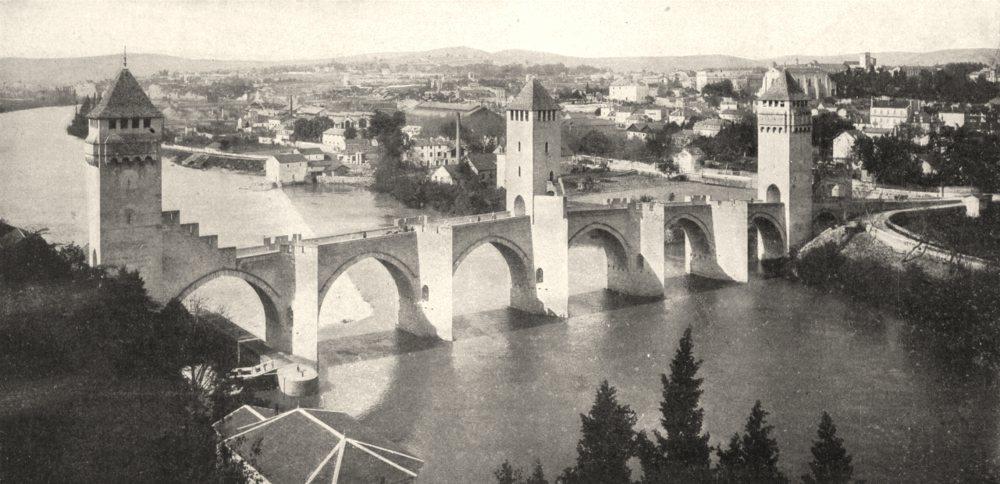 Associate Product LOT. Cahors. Le lot et le Pont Valentré 1900 old antique vintage print picture