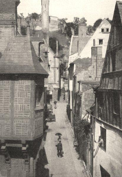 Associate Product INDRE- ET- LOIRE. Chinon. La rue du Vieux- Carroi 1900 old antique print