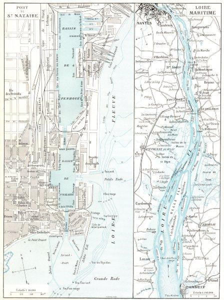 Associate Product LOIRE- ATLANTIQUE. Port de St Nazaire; Loire Maritime 1900 old map