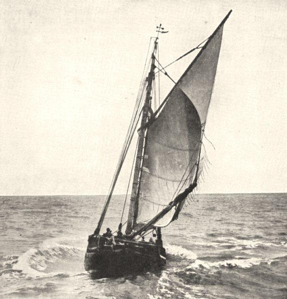 Associate Product FRANCE. Barque de Pêche 1900 old antique vintage print picture