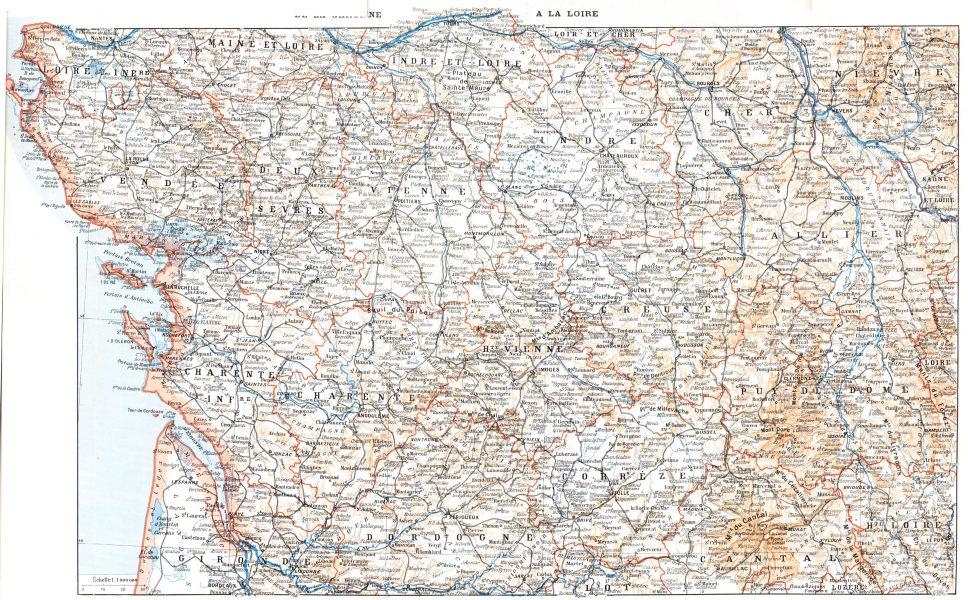 Associate Product FRANCE. De la Garonne a la Loire 1900 old antique vintage map plan chart