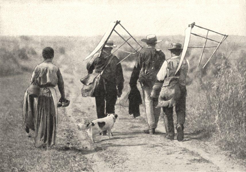 Associate Product FRANCE. En Beauce. Le départ des Moissonneurs 1900 old antique print picture