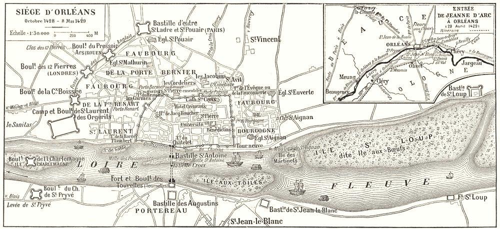 Associate Product LOIRET. Siége D'orléans; Inset map of Entrée de Jeanne D'arc À Orléans 1900