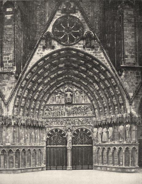 Associate Product CHER. Grande porte de la Cathédrale de Bourges 1900 old antique print picture