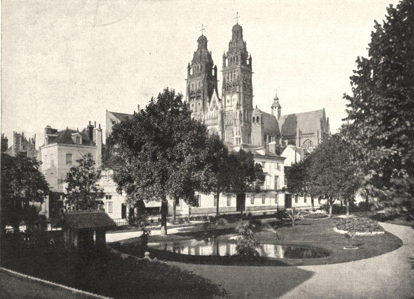 Associate Product INDRE- ET- LOIRE. Tours. Le Square de L'archevêché 1900 old antique print