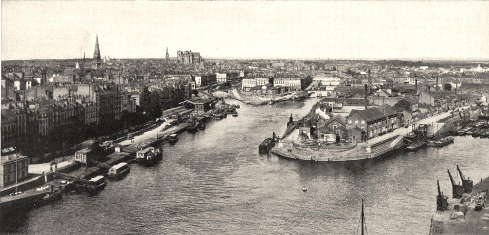 Associate Product LOIRE- ATLANTIQUE. Nantes. Vue Générale, prise du pont Transbordeur 1900 print