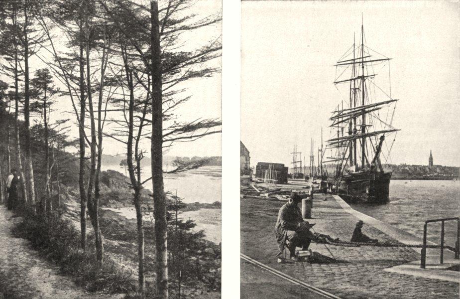 Associate Product ILLE- - VILAINE. Dinard. Rance bec Vallée; Bassin Plot St- Servan 1900 print