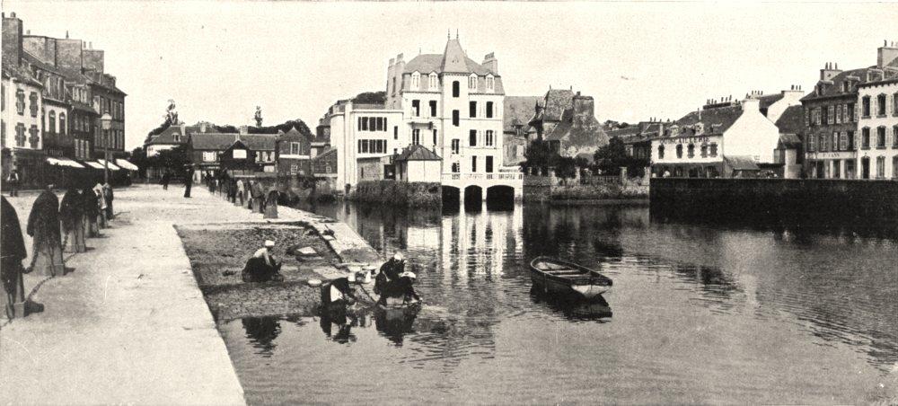 Associate Product FINISTÈRE. Le pont D'élorn, a Landerneau 1900 old antique print picture