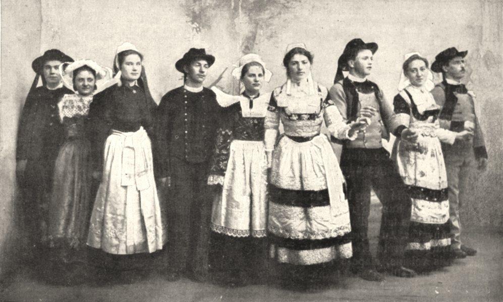Associate Product FINISTÈRE. A Pont- aven. Gavotte Bretonne 1900 old antique print picture