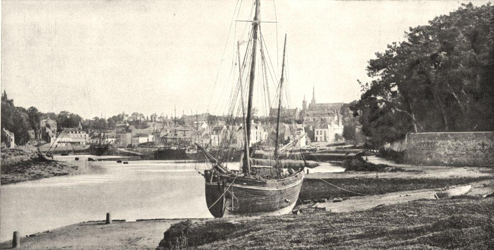 Associate Product MORBIHAN. Auray. Port et Faubourg de Saint- Goustan 1900 old antique print