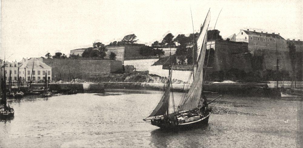 Associate Product MORBIHAN. Belle- ile. Port et Citadelle du Palais 1900 old antique print