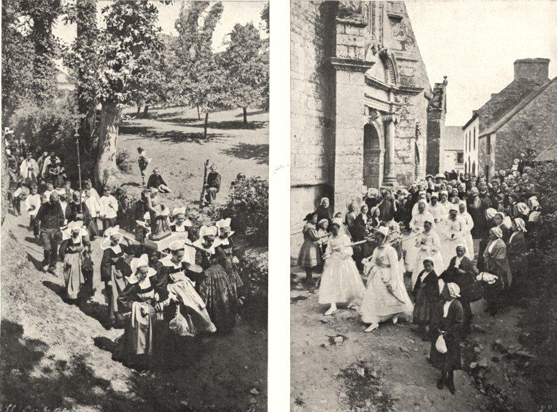 Associate Product FINISTÈRE. Parade du Pardon de St- Léger; Juch 1900 old antique print picture