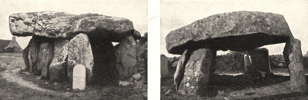 Associate Product MORBIHAN. Dolmen de Crucuno; Carnac. Dolmen de Cohquer 1900 old antique print