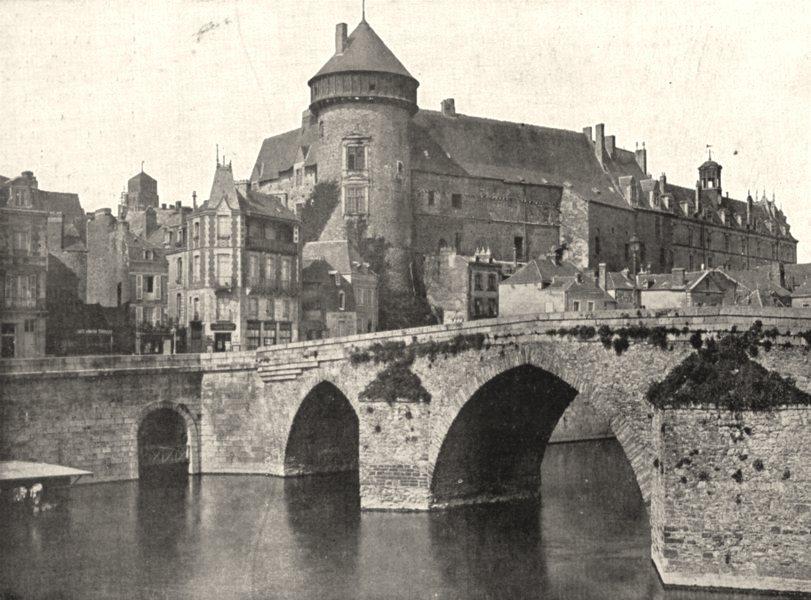 Associate Product MAYENNE. Vieux pont et Ancien Chateau de Laval 1900 old antique print picture