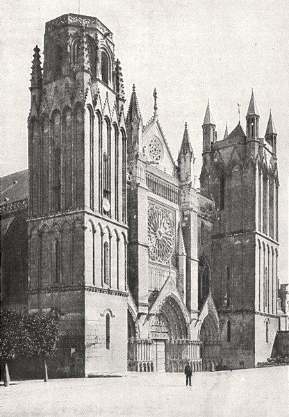 Associate Product VIENNE. Poitiers. Cathédrale Saint- Pierre 1900 old antique print picture